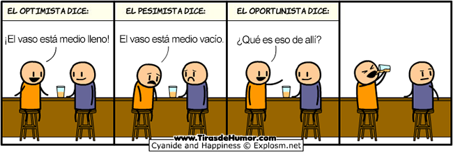 optimista pesimista y oportunista vaso
