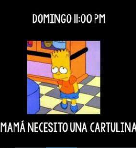 domingo 11 pm necesito una cartulina bart